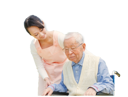 old man on wheelchair with his caregiver